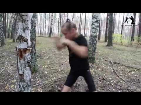 8 year old girl punching a tree with sharp technique and amazing speed!