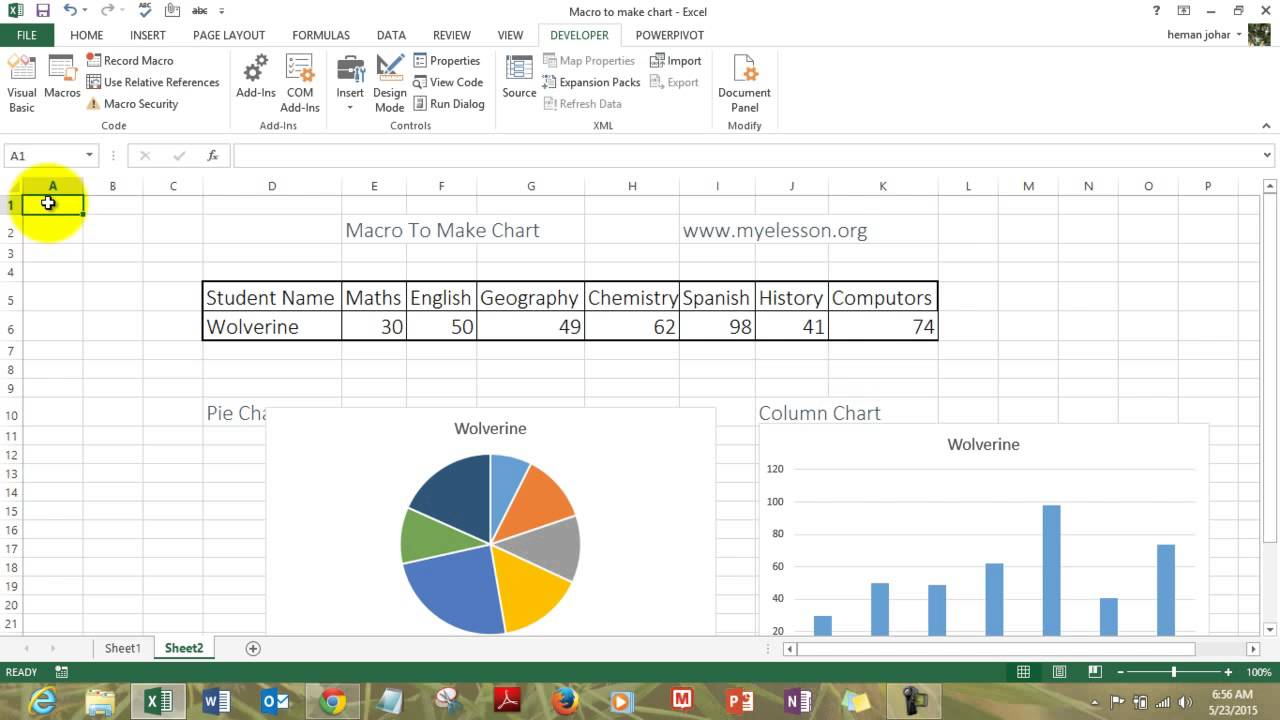 Make charts in excel with macro hindi also youtube rh