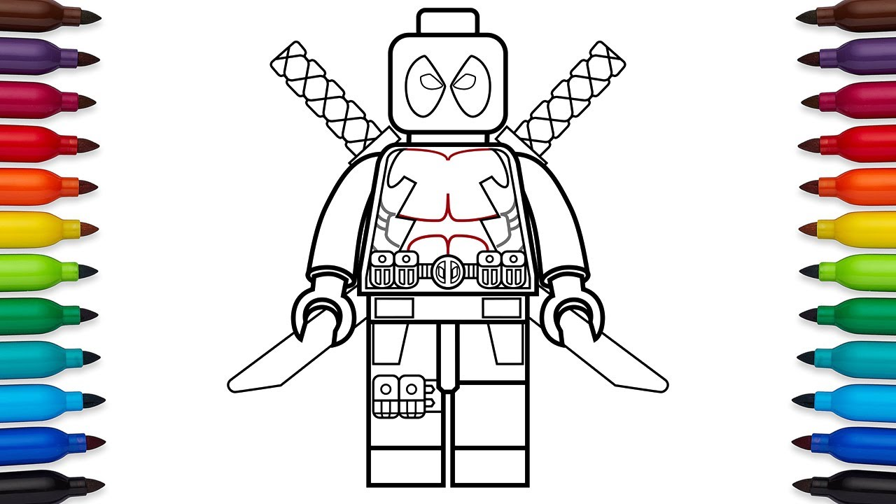 How to draw Lego Deadpool Marvel