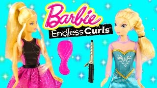 New Barbie Endless Curls With Disney Frozen Elsa Doll From Straight To Curly In Seconds!