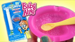 How to Make Baby Alive Doll Food with Grow Snow Experiment from Hobby Lobby with Mr Turtle Vacuum