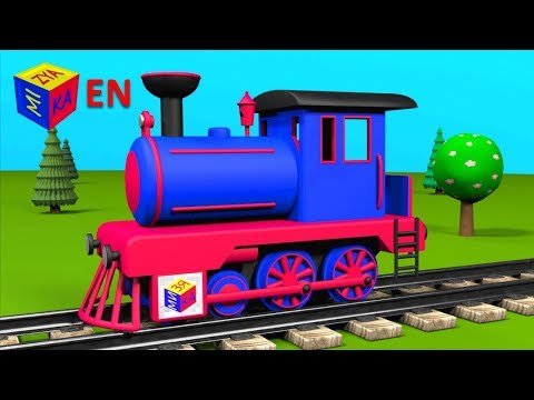 Trains for children: steam locomotive. Construction game educational cartoon for toddlers