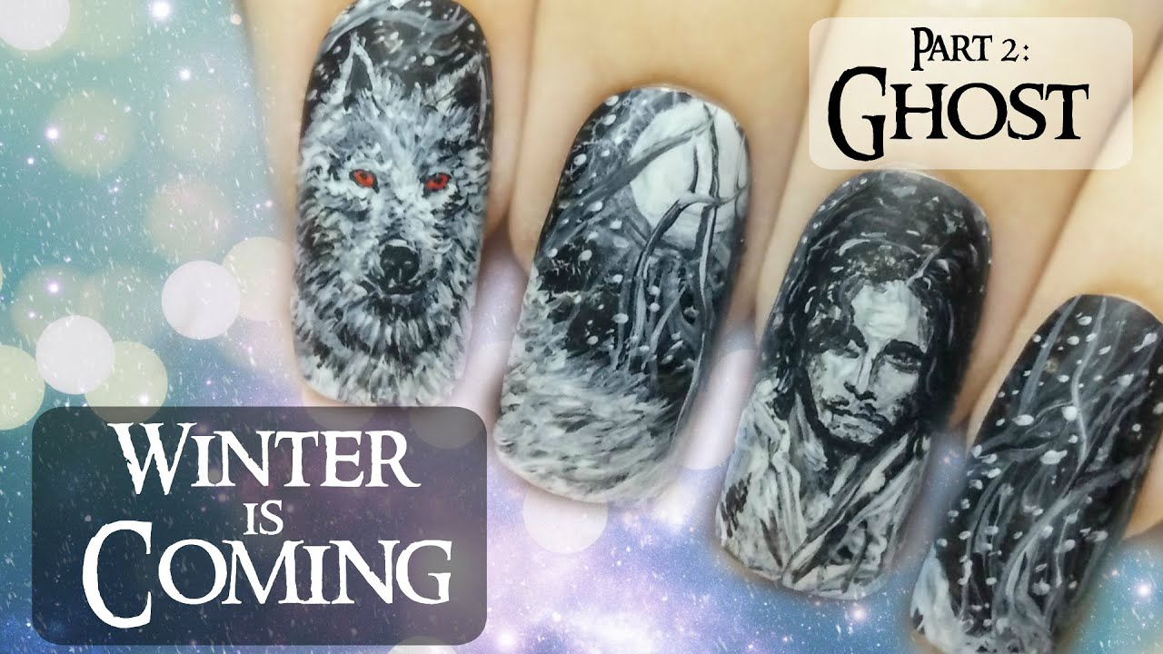 Jon Snow & Ghost (Part 2) ⎮ Game of Thrones ⎮ Freehand Nail Art ...