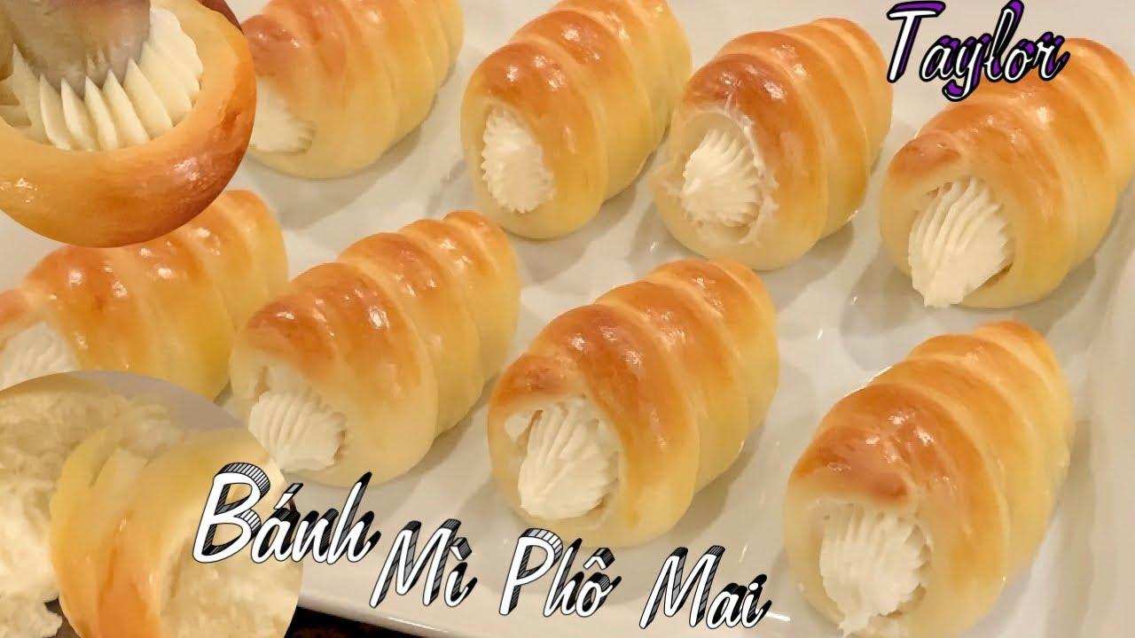 Cách Làm Bánh Mì Nhân Phô Mai Mềm Xốp Và Ngon Ơi Là Ngon - Cream Cheese Rolls - Taylor Recipes