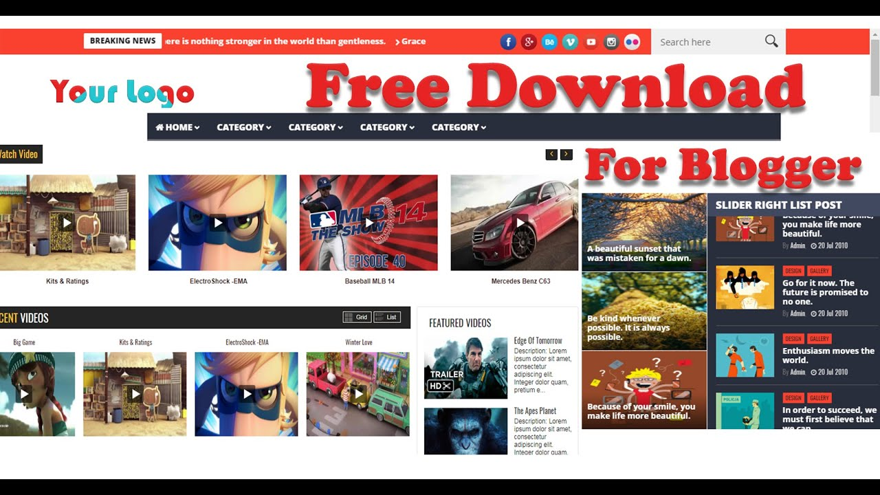 Top 10 Blogger Theme For Youtube Channel Best Website Templates For Youtuber Hindi 2019
