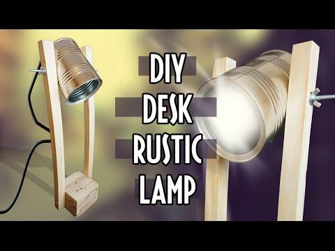DIY wooden desk rustic lamp