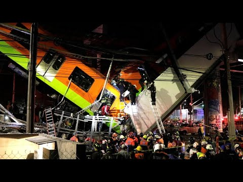 Mexico City rail overpass collapses onto road, killing at least 24 and ...