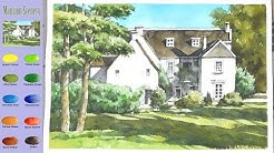 Basic Landscape Watercolor - Mansion Scenery (sketch & color mixing process) NAMIL ART