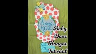 Baby Girl Hospital Door Hanger Painting Tutorial