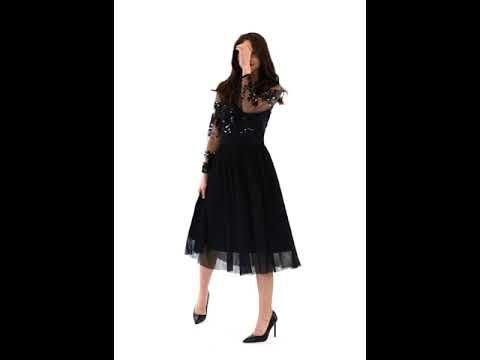 Video: Sukienka tiulowa midi z koronkową górą
