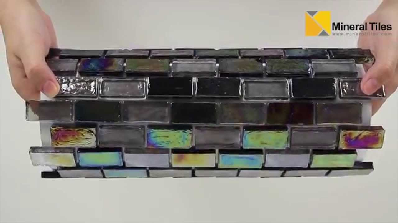 Black and Irridescent Glass Tile Blend 1 x 2