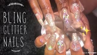 Acrylic Nails Tutorial |Fill | Bling Glitter Nails