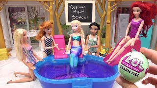 Barbie Frozen Pool Party School Costume into Mermaid Tail & Swimsuits Disney Princess Doll