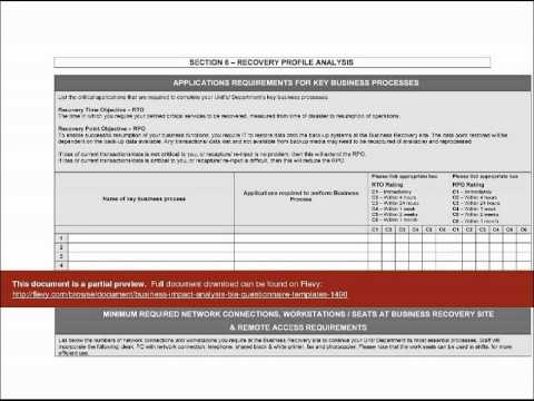 Business Impact Analysis Bia Questionnaire Templates  Youtube