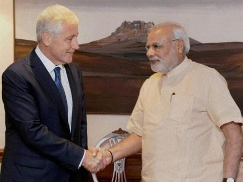 US Defence Secretary Chuck Hagel meets PM Modi