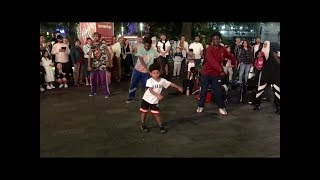 STREET DANCERS WITH VERY CUTE BOY - GANGNAM STYLE - Leicester Square, London - 3 August 2019