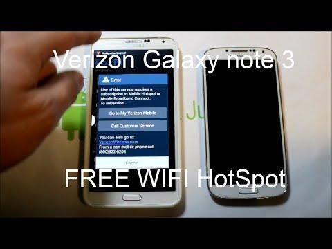 Verizon Galaxy Note 3 Free WIFI hotspot activation