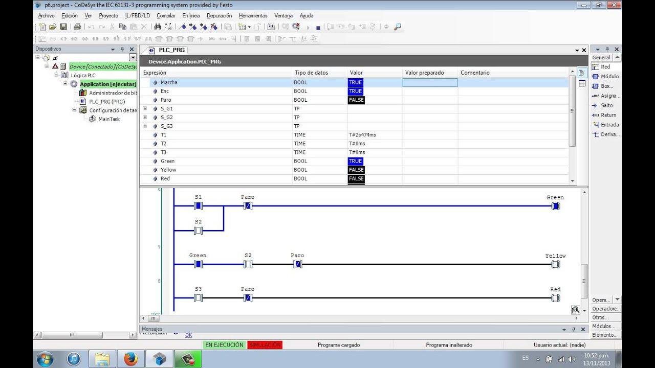 Traffic Light Simulation Codesys Youtube Ladder Logic Diagram
