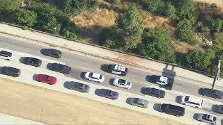 Police monitor vehicle in L.A. County following pursuit