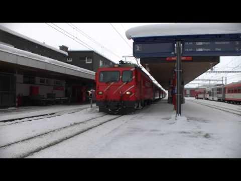 Matterhorn Gotthard Bahn Bahnhof Andermatt, Winter 2015