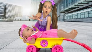 Anita and Little Sister Argue about Baby and Pretend play Fireman. Stories for Children with Toys