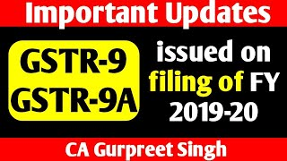 Important update issued on GST Annual Return filing of FY 2019-20, GSTR9, GSTR9A filing due date