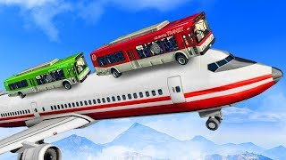 DRIVING BUSES ON A PASSENGER PLANE? (GTA 5 Funny Moments)