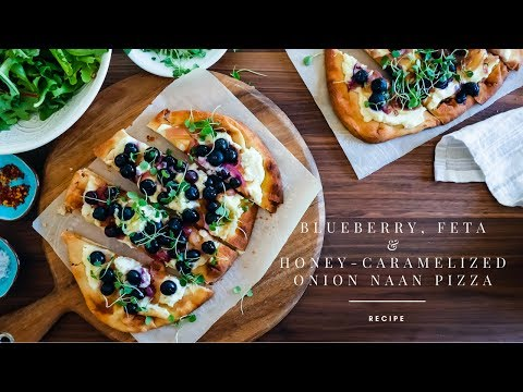 Blueberry and Honey Caramelized Onion Naan Pizza