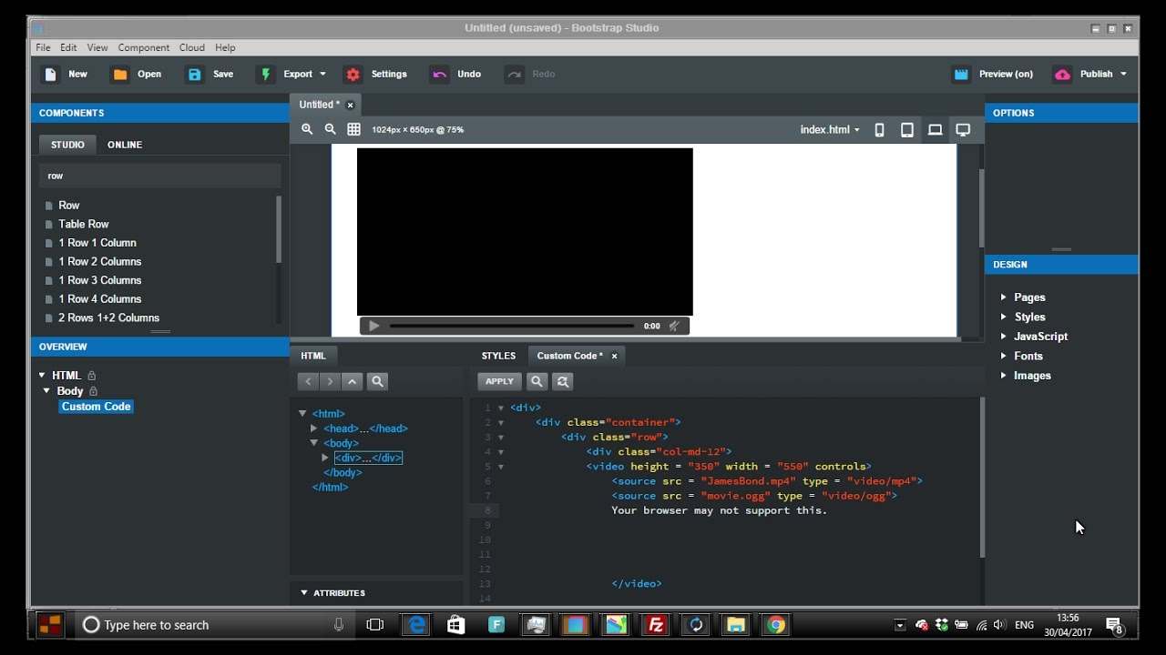 HTML5 video in Bootstrap Studio BSS #RWD