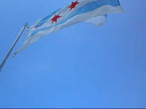 Chicago Flag Waving in Wind