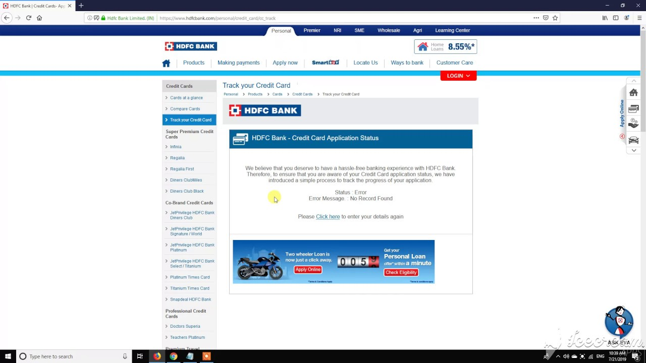 online hdfc credit card application tracking