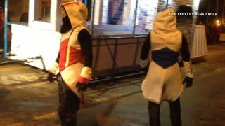 Scary men jump off float in Carnival de Quebec parade. #quebecregion