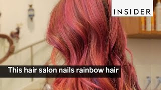 This hair salon nails rainbow hair