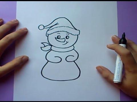 Como dibujar un mu eco de nieve paso a paso how to draw - Como hacer un muneco ...