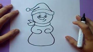 Como dibujar un muñeco de nieve paso a paso | How to draw a snowman