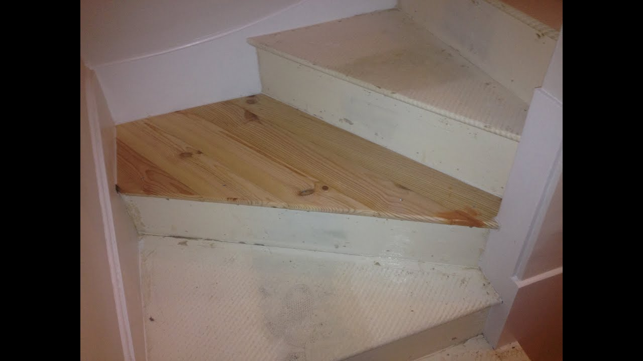 Stair winder tread replacement - YouTube