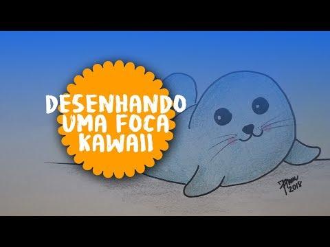 Como desenhar uma foca kawaii