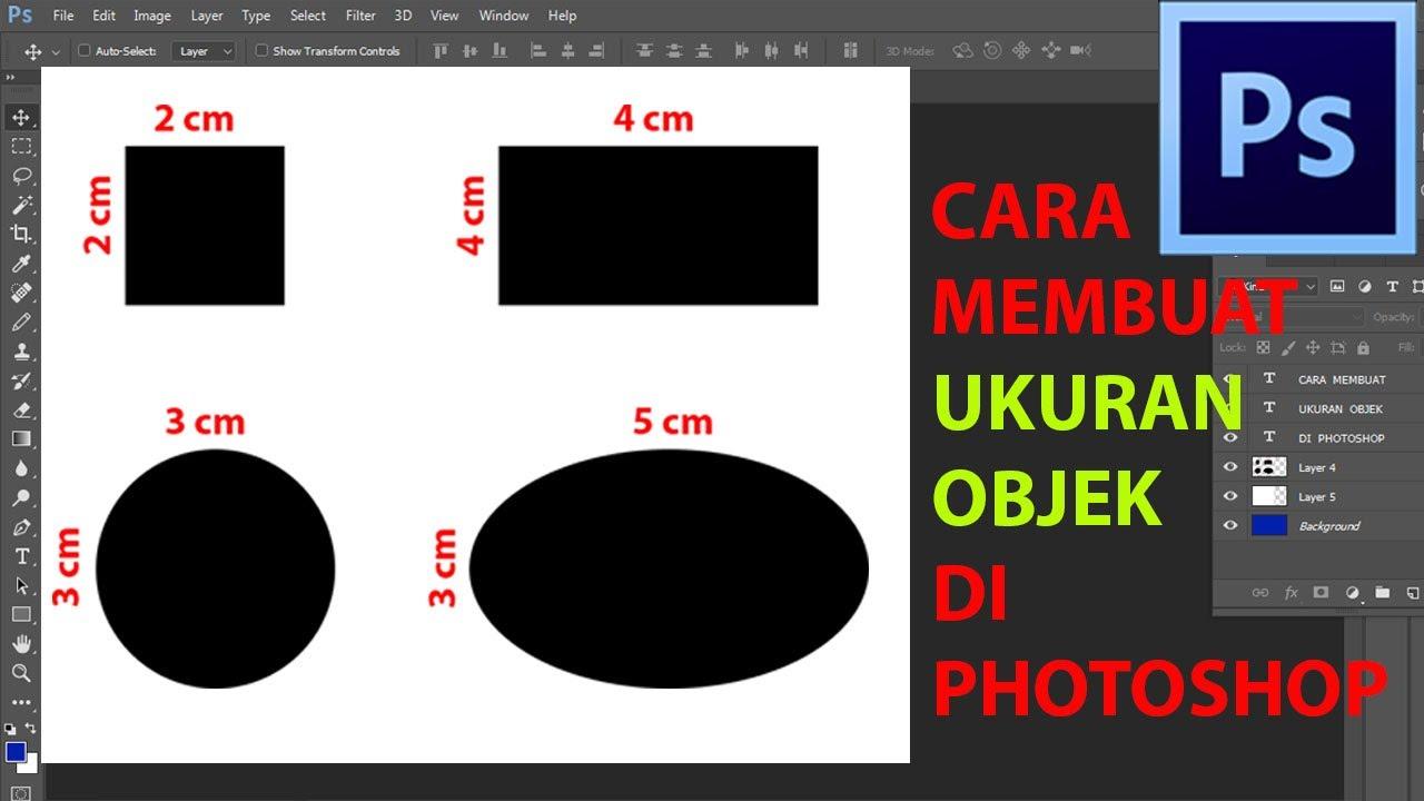 Cara membuat ukuran objek di Photoshop - YouTube