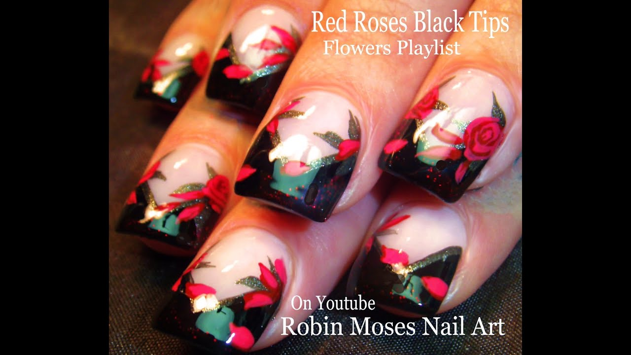 Rose Nail Art Tutorial: DIY Rose Nails Design Tutorial - YouTube