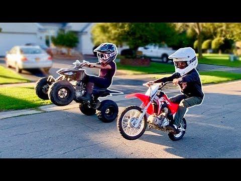 DRIFT QUAD VS PIT BIKE RACING!!! ITS TOO FAST