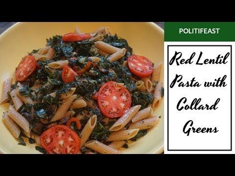 Warm Red Lentil pasta/Collard Salad