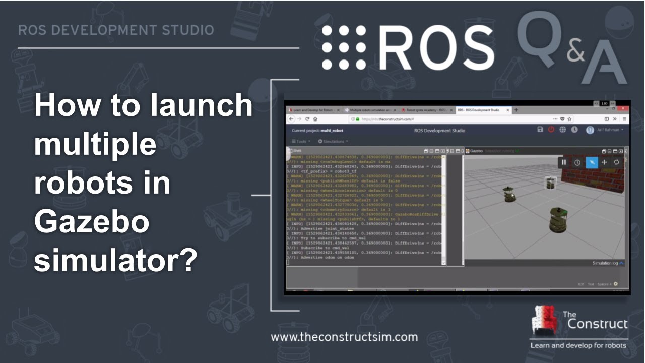 [ROS Q&A] 130 - How to launch multiple robots in Gazebo simulator?