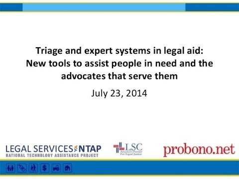 Triage and Expert Systems in Legal Aid