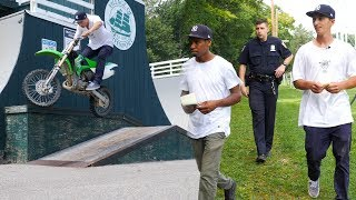 I BROUGHT MY DIRTBIKE TO THE SKATEPARK 2! (CHASED BY THE POLICE)