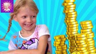 БАШНЯ из Монет НОВЫЙ ЧЕЛЛЕНДЖ и кто соберет быстрее монеты детское видео для детей от Family Box