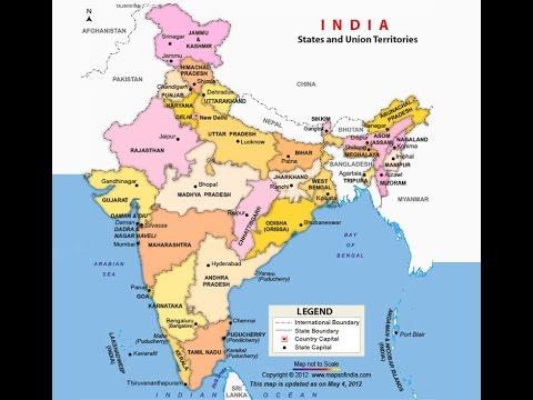 भरत क रजय और उनक रजधनय - Map of all states
