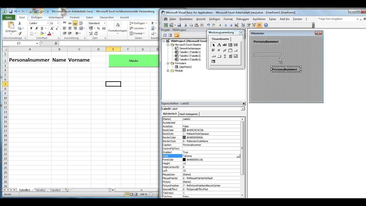 8ES_Eingabemaske für einfache Datenbank in Excel VBA erstellen - YouTube