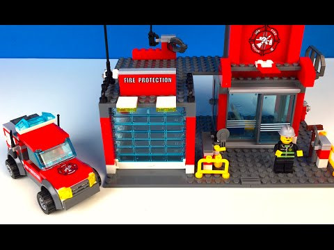 FIRE STATION STOP MOTION WITH FIRE TRUCK SIRENS EMERGENCY SERVICES FIREMEN AT FIRE DEPARTMENT