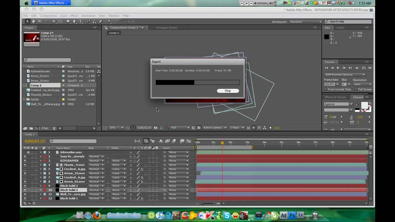 After Effects Tutorial : How to save Composition Project to HD ...