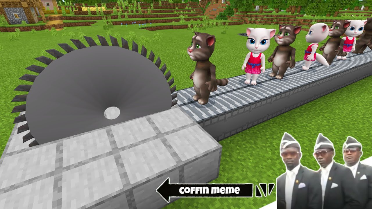 Traps for Talking  Tom and Angela in Minecraft - Coffin Meme